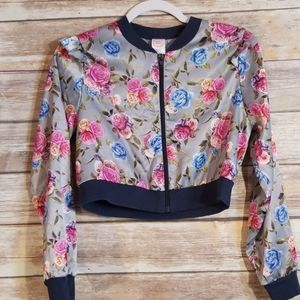 !3 for 20! Silk cropped zip up light jacket